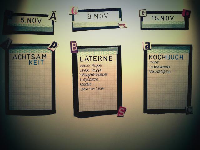 Mein Blogplan DIY; Pappe auf Pinnwand