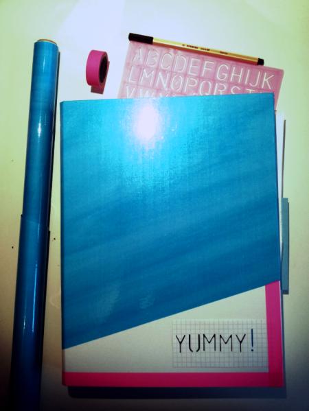 DIY Kochbuch äh -ordner mit Bucheinbindefolie und Washi Tape