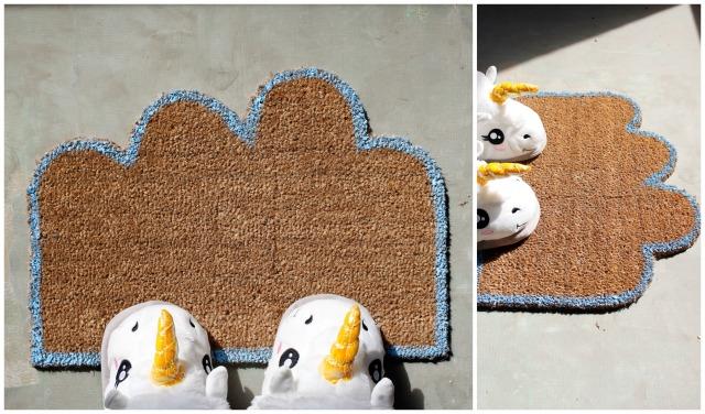 Wolken-Fußmatte mit Einhornpuschen